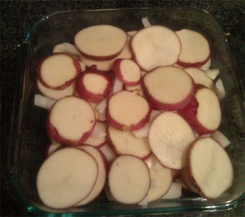 sliced red potatoes