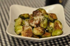 Baked brussels sprouts with olive oil, salt, pepper, parmesan and balsamic vinegar.